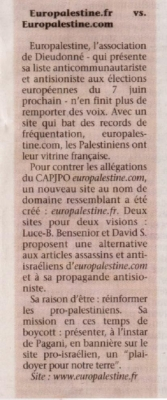 Article sur le Jerusalem post